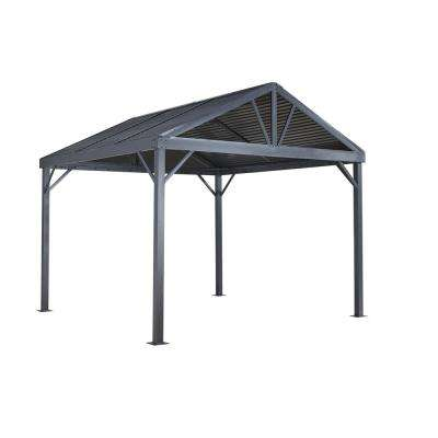 8 ft. D x 8 ft. W Sanibel Aluminum Gazebo with Galvanized Steel Roof Panels, 2-Track System, and Mosquito Netting