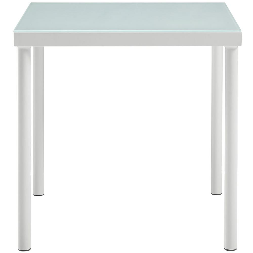 Harmony Patio Aluminum Outdoor Side Table in White