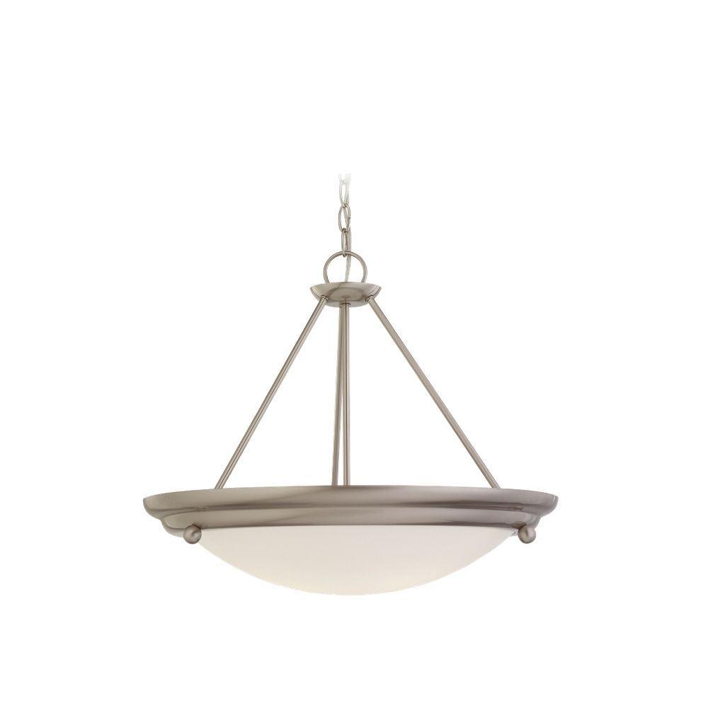 Sea Gull Lighting Centra 3-Light Brushed Stainless Semi-Flush Mount Light