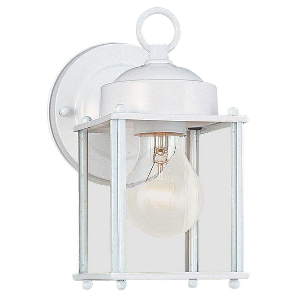Sea Gull Lighting New Castle 1 Light White Outdoor Wall Fixture 8592 15 The Home Depot