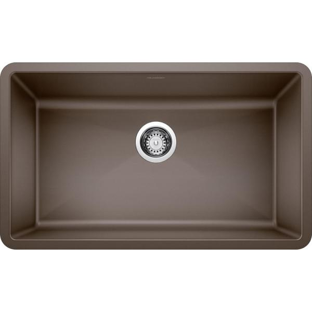 Blanco PRECIS Undermount Granite Composite 32 in. Single Bowl Kitchen Sink in Cafe Brown