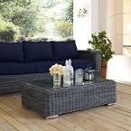 Summon Patio Glass Top Outdoor Coffee Table in Gray