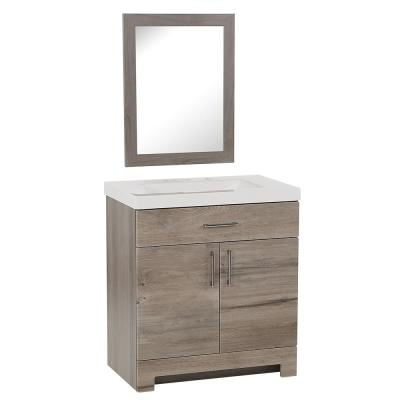 Glenwood 30 in. W x 18.75in. D Vanity in White Washed Oak with Cultured Marble Top in White with White Sink and Mirror