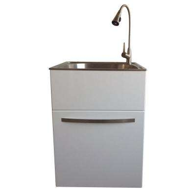 All-in-One 24.2 in. x 21.3 in. x 33.8 in. Stainless Steel Utility Sink and Large White Drawer Cabinet