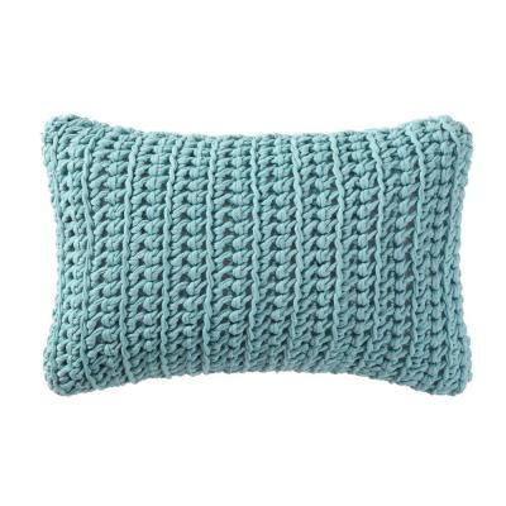 Chambray Loft Aqua Solid Hypoallergenic Down Alternative 20 in. x 22 in. Throw Pillow