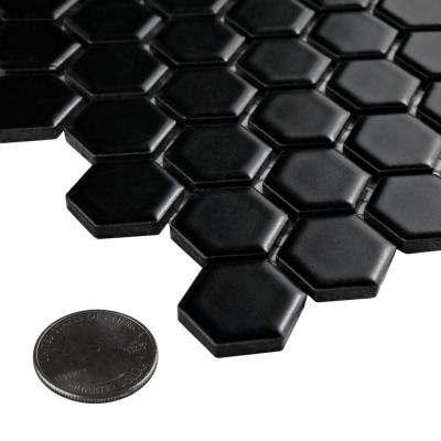 Metro Hex Matte Black 10-1/4 in. x 11-7/8 in. x 5 mm Porcelain Mosaic Tile (8.65 sq. ft. /Case)
