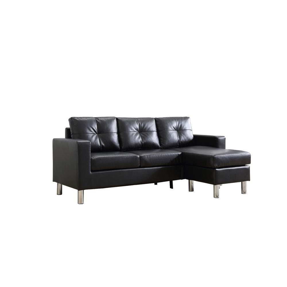 Small Space Convertible Furniture: Black Small Space Convertible Sectional Sofa-73030-40BK