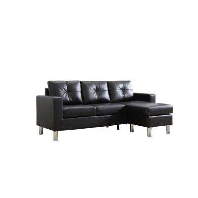 Black Small Space Convertible Sectional Sofa