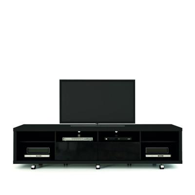 Cabrini 85 in. Black Particle Board TV Stand with 2 Drawer Fits TVs Up to 70 in. with Cable Management