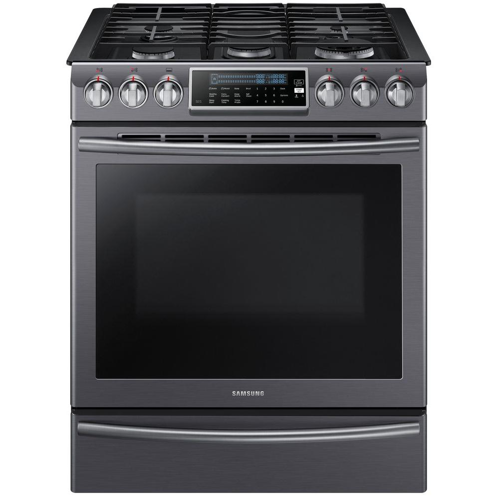 samsung 5 8 cu ft slide in range with self cleaning dual convection oven in black stainless. Black Bedroom Furniture Sets. Home Design Ideas