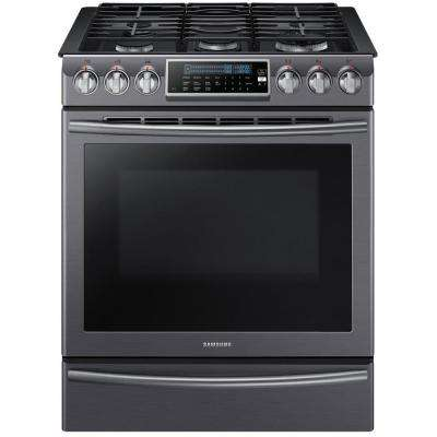 5.8 cu. ft. Slide-In Range with Self-Cleaning Dual Convection Oven in Black Stainless Steel