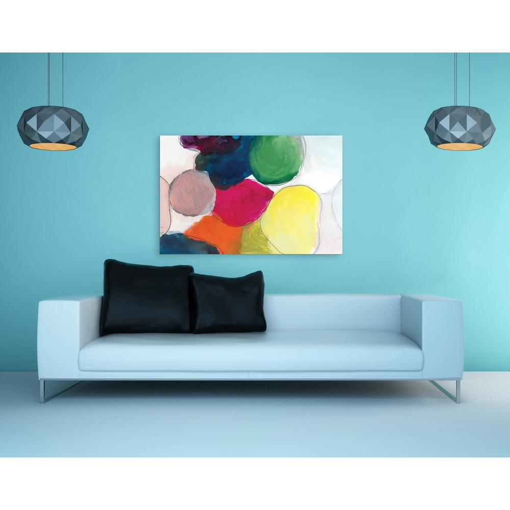 """48 in. x 32 in. """"The Party"""" Frameless Free Floating Tempered Glass Panel Graphic Art Wall Art"""