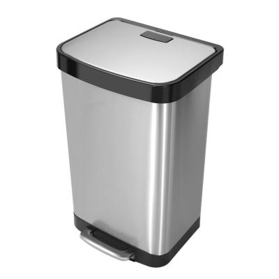 14.5 Gal./55 l Stainless Steel Rectangular Liner Rim Step-On Trash Can