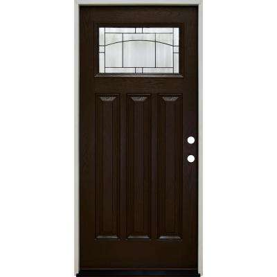 36 in. x 80 in. Craftsman Knox Top Lite Left-Hand Inswing Hickory Stained Fiberglass Prehung Front Door 4-9/16 Frame