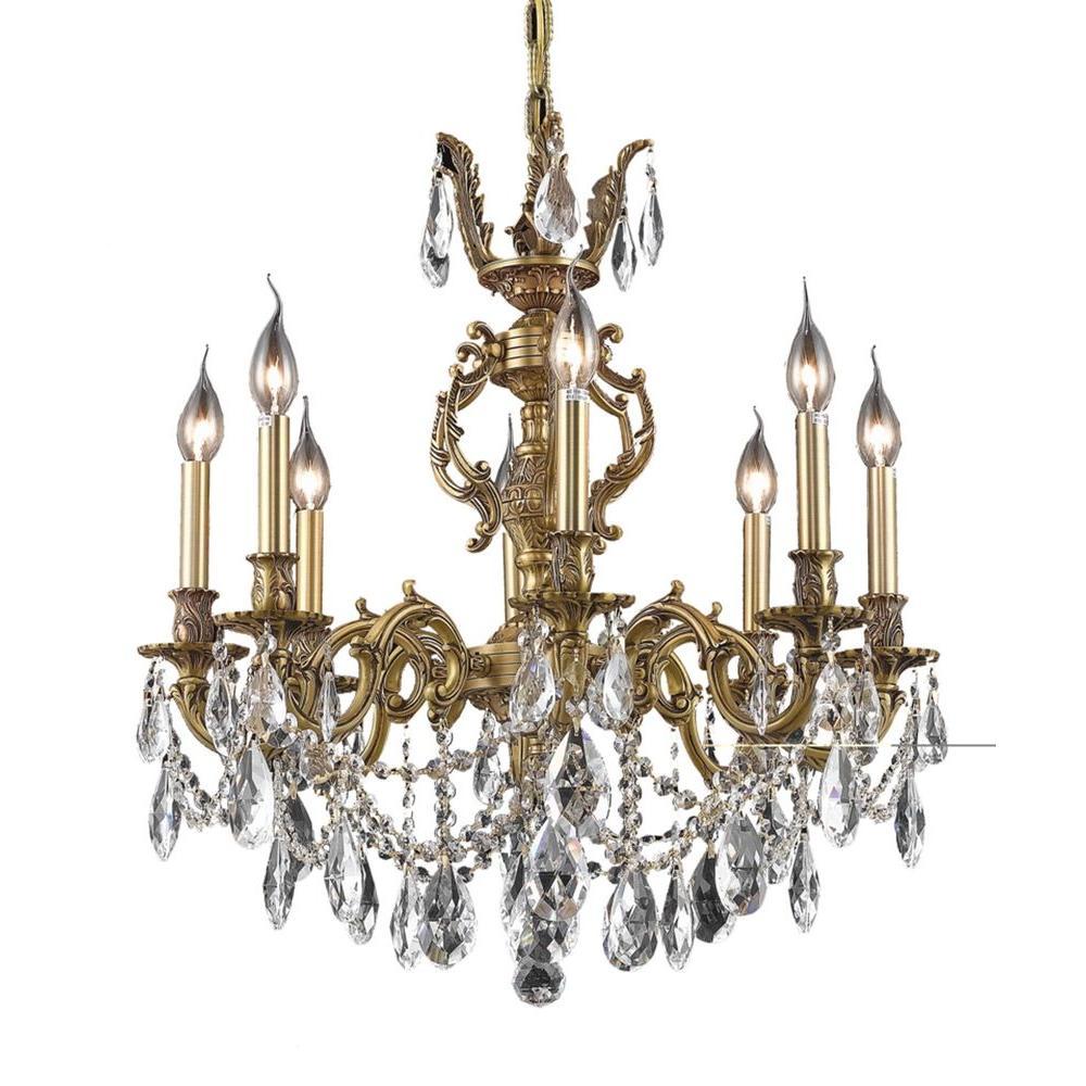 Elegant lighting 8 light french gold chandelier with clear crystal elegant lighting 8 light french gold chandelier with clear crystal arubaitofo Gallery