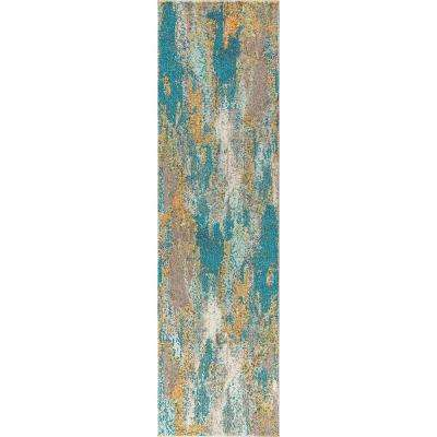 Contemporary POP Modern Abstract Vintage Waterfall Blue/Cream 2 ft. 3 in. x 8 ft. Runner Rug