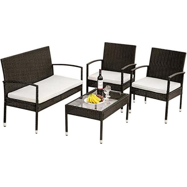 Boyel Living 4 Piece Wicker Sofa Seating Group With Cushions Outdoor Rattan Set Bh Wf190609aaa The Home Depot