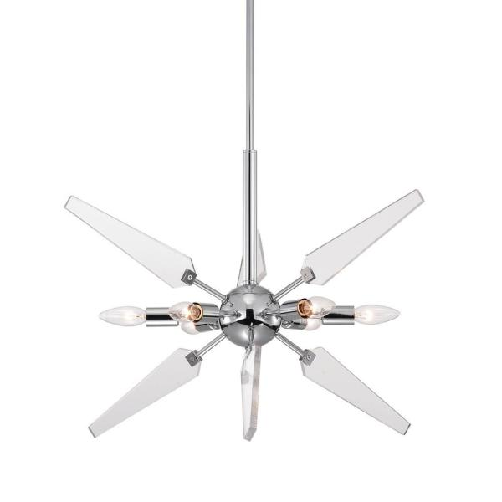 6- Light Chrome and Acrylic Blade Sputnik Pendant