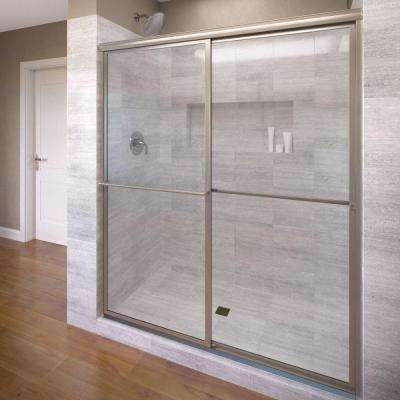Deluxe 40 in. x 68 in. Framed Sliding Shower Door in Brushed Nickel