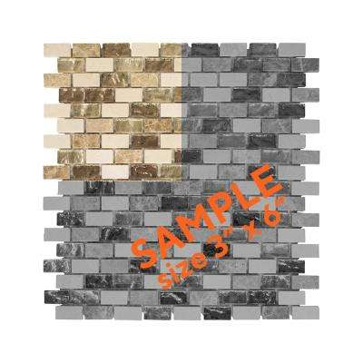 Molten 3 in. x 6 in. x 8 mm Glass/Marble Mosaic Tile Sample