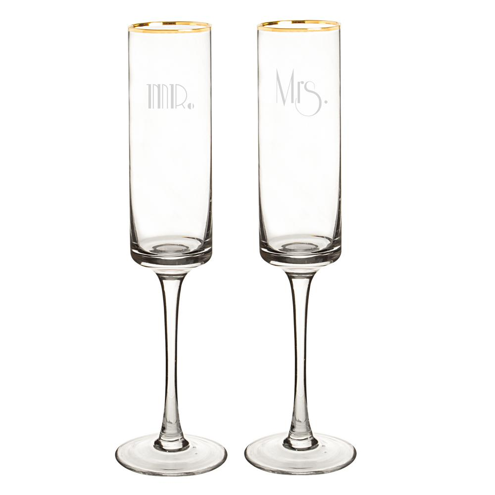 Mr. & Mrs. 8 oz. Glass Gold Rim Champagne Flutes