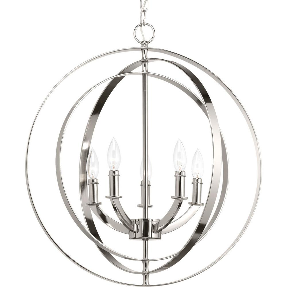 Progress Lighting Equinox Collection 5 Light Polished Nickel Orb Chandelier