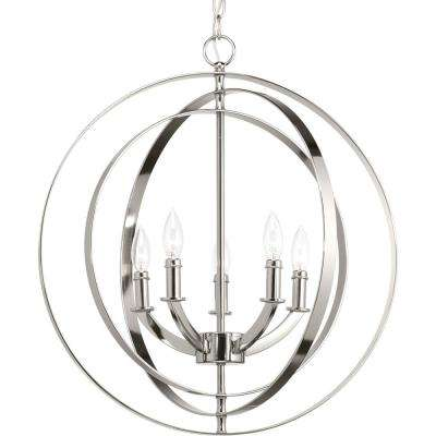 Equinox Collection 5-Light Polished Nickel Orb Chandelier