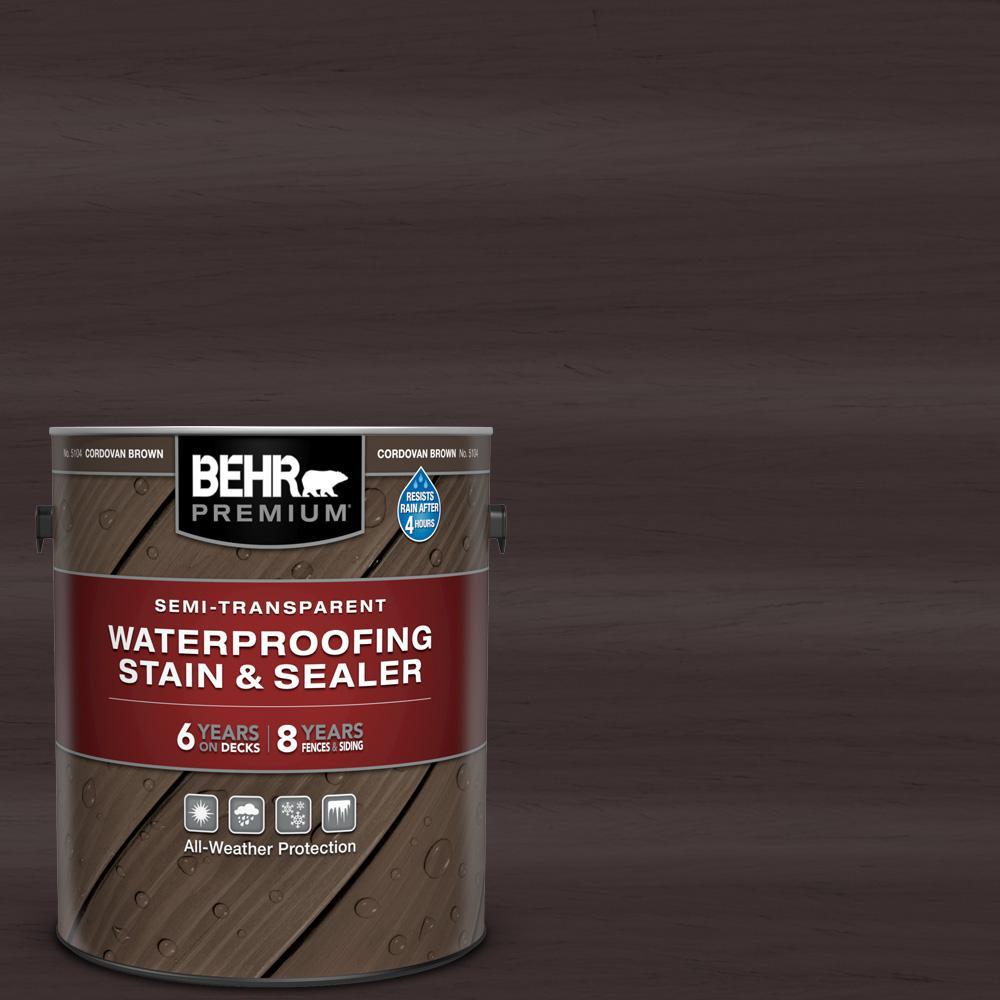 BEHR Premium 1 gal. #ST-104 Cordovan Brown Semi-Transparent Waterproofing Exterior Wood Stain and Sealer