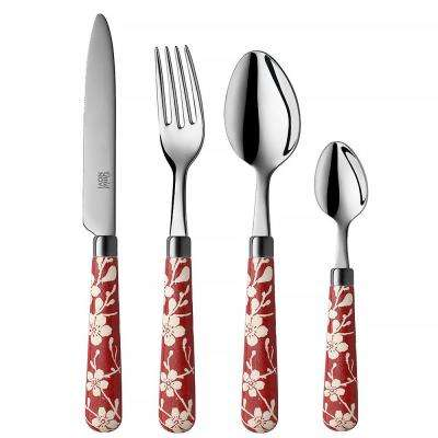 Fuji-Yama 16-Piece Red 18/0 Stainless Steel Flatware Set