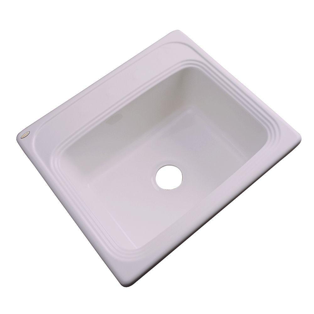 Wellington Drop-in Acrylic 25x22x9 in. 0-Hole Single Bowl Kitchen Sink in