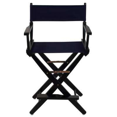 24 in. Extra-Wide Black Wood Frame/Navy Canvas Seat Folding Directors Chair