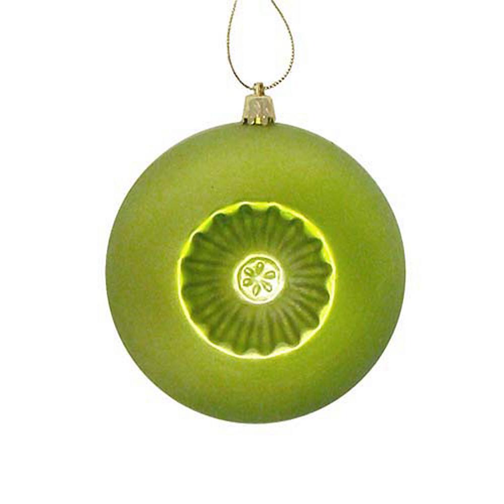 4 in. Matte Green Kiwi Retro Reflector Shatterproof Christmas Ball Ornaments (6-Count)