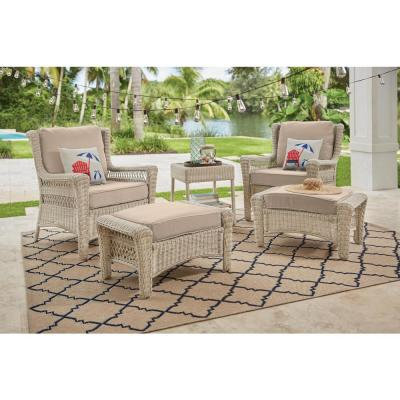 Park Meadows Off-White Wicker Outdoor Patio Ottoman with CushionGuard Putty Tan Cushion