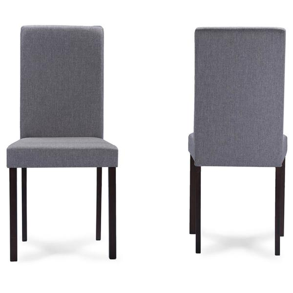 Baxton Studio Andrew Gray Fabric Upholstered Dining Chairs (Set of 2)