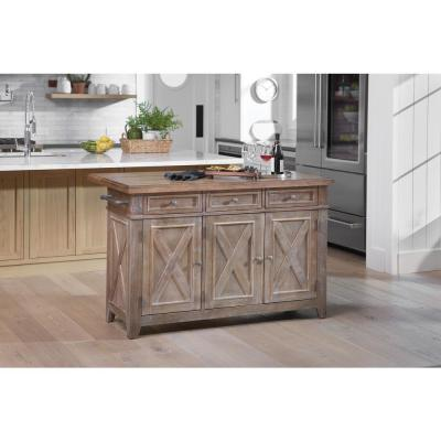 Cocina Kitchen Island Brown with Wood Top and Frame