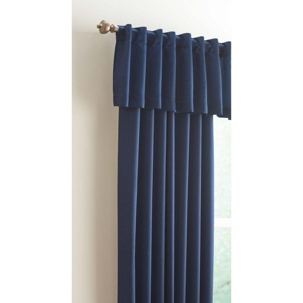Home Decorators Collection 15 in. L Monaco Lined Polyester Valance in Navy