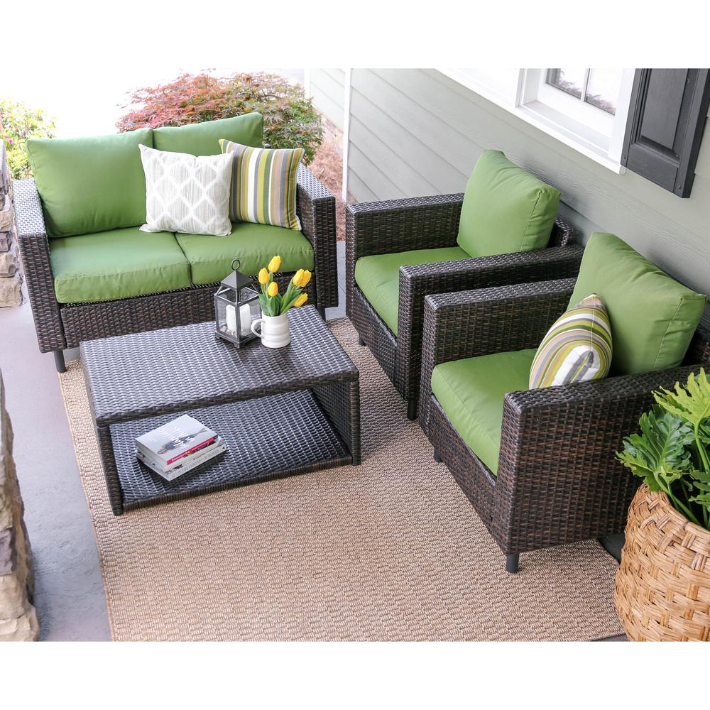 Leisure Made Draper 4 Piece Wicker Patio Conversation Set With Green Cushions