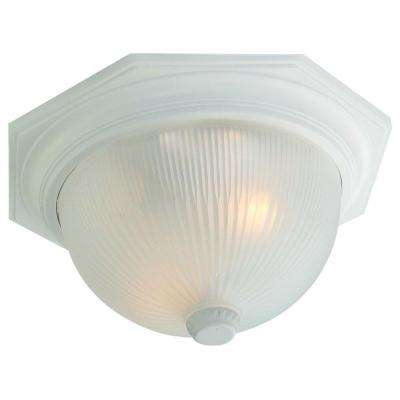 Outer Banks Collection 2-Light Textured White Outdoor Ceiling-Mount Fixture