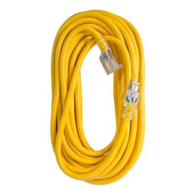25 ft. 12/3 SJTW 15 Amp/125-Volt Outdoor Single Receptacle Extension Cord, Yellow