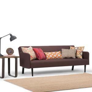 Simpli Home Ashby 1-Piece Maroon Brown Linen Look Fabric Sofa Bed by Simpli Home