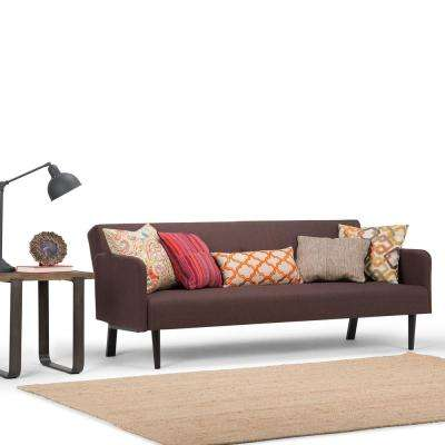 Ashby 1-Piece Maroon Brown Linen Look Fabric Sofa Bed