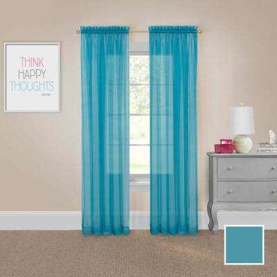 Victoria Voile 95 in. L Polyester Rod Pocket Drapery Panel Pair in Turquoise