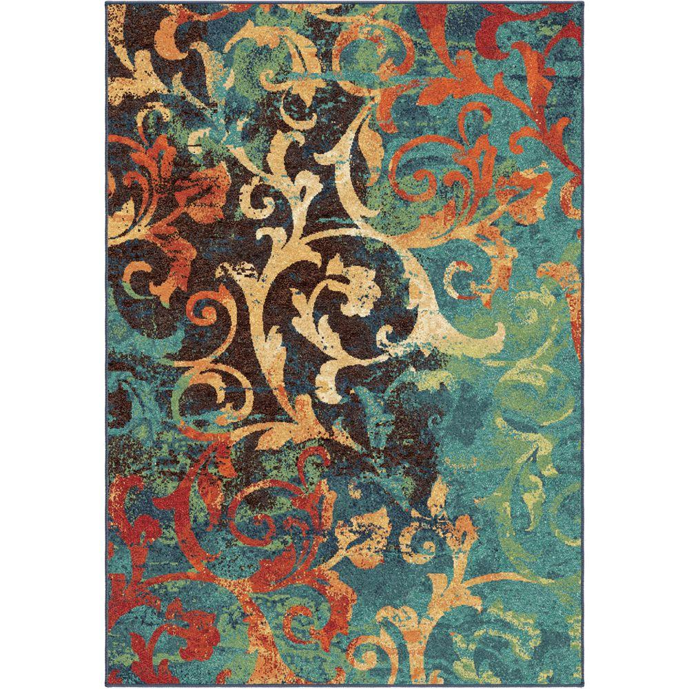 Watercolor Scroll Multi Bright Colors 7 Ft X 10 Indoor Area Rug
