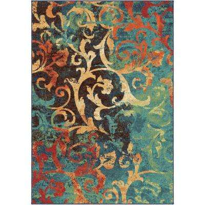 Watercolor Scroll Multi Bright Colors 6 ft. 7 in. x 9 ft. 8 in. Indoor Area Rug