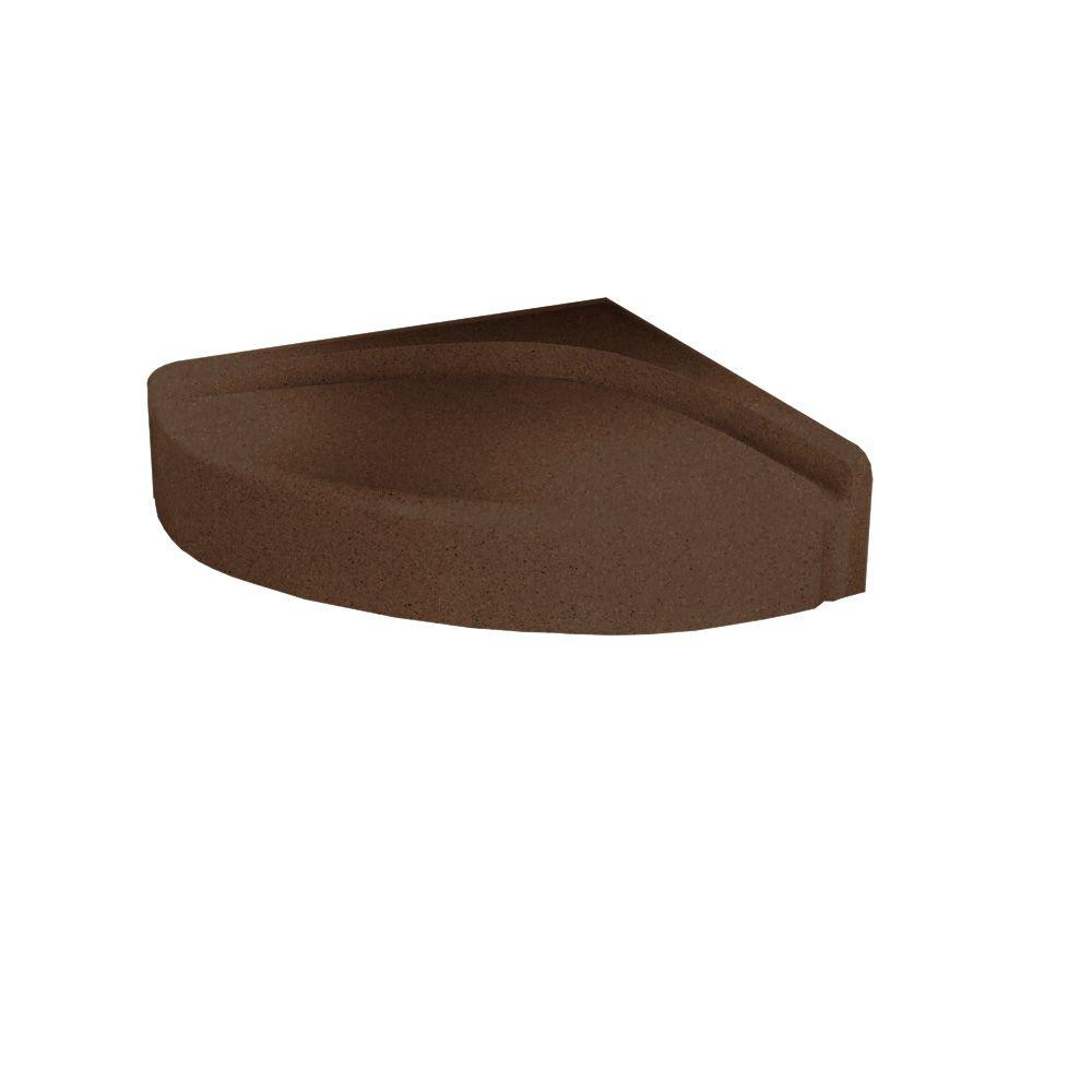 Swanstone Solid Surface Corner-Mount Shower Seat in Acorn-DISCONTINUED