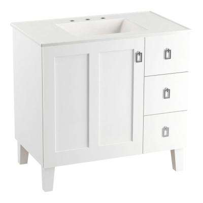 Poplin 36 in. Vanity in Linen White with Vitreous China Vanity Top in White