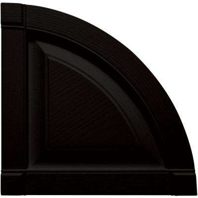 15 in. x 15 in. Raised Panel Design Black Quarter Round Tops Pair #002