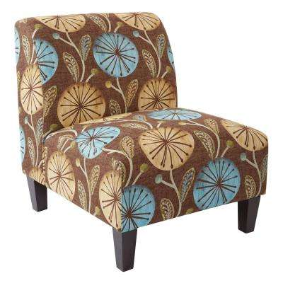 Magnolia Dandelion Aqua Fabric Accent Chair and Solid Wood Legs