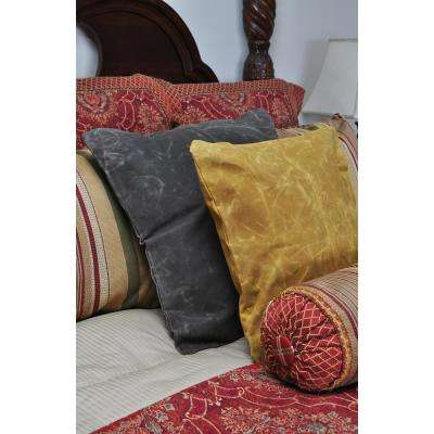 24 in. x 24 in. Waxed Canvas Yellow Square  Standard Pillow with Green Eco Friendly Insert