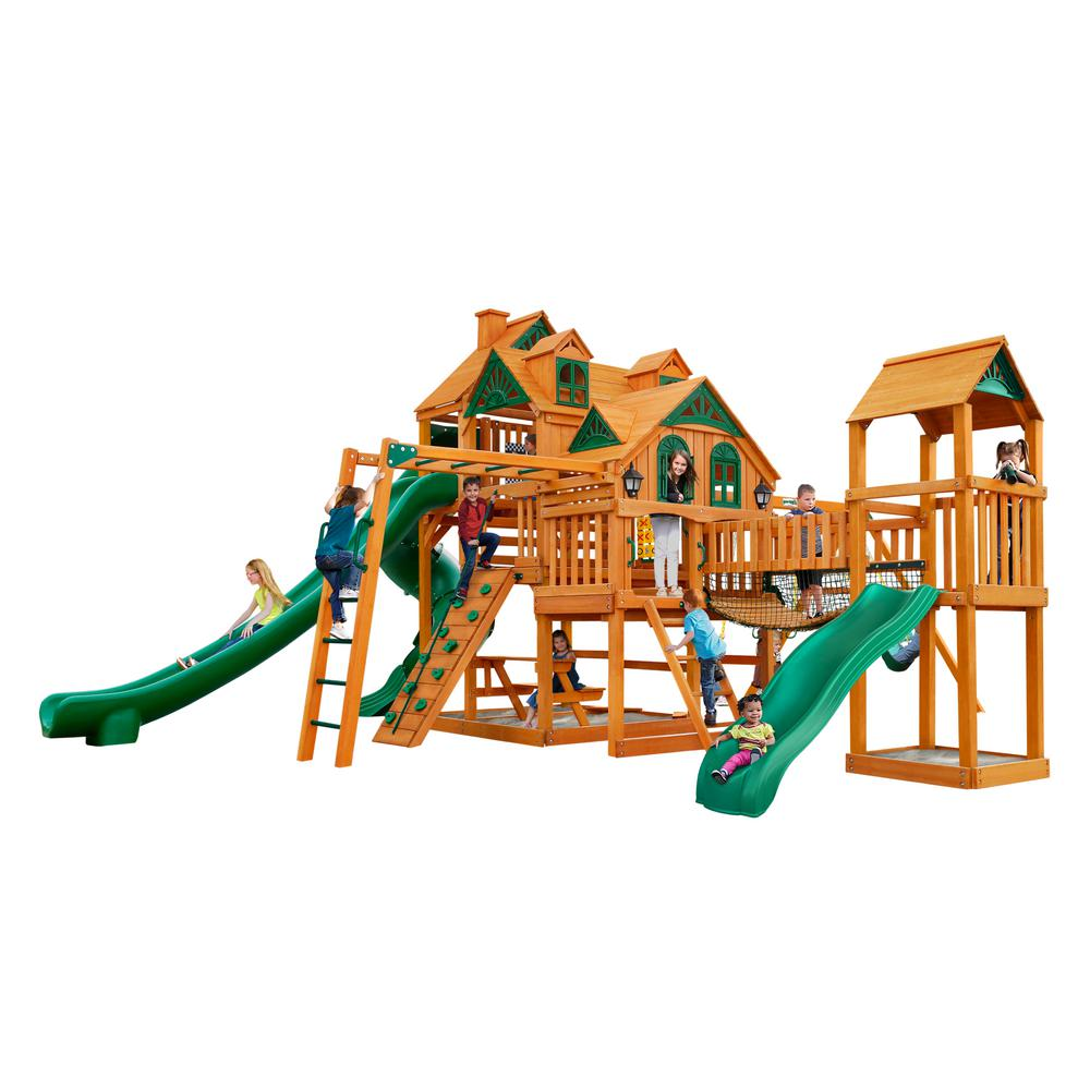 Gorilla Playsets Empire Extreme Wooden Playset With Monkey Bars And